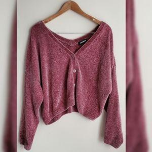 Express Chenille V Neck Cardagin Sweater